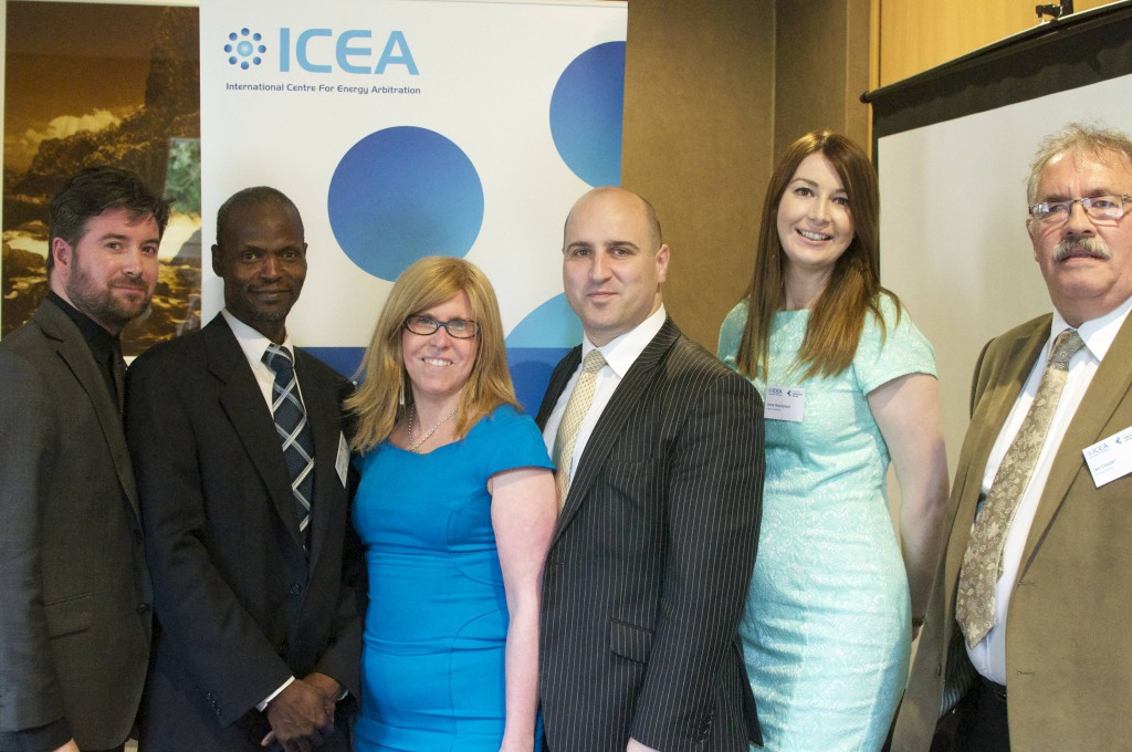Left to right: Andrew Mackenzie, secretary general of ICEA; Dr Abba Kolo, senior lecturer at CEPMLP; Sarah Stuart, chair of the Northern Chapter of the Scottish Branch of CIArb; Brandon Malone; co-director of ICEA; Anne Macdonald, Harper Macleod; and Ian Couper, chief executive of Energy North. Photo by Charlotte Lelong.